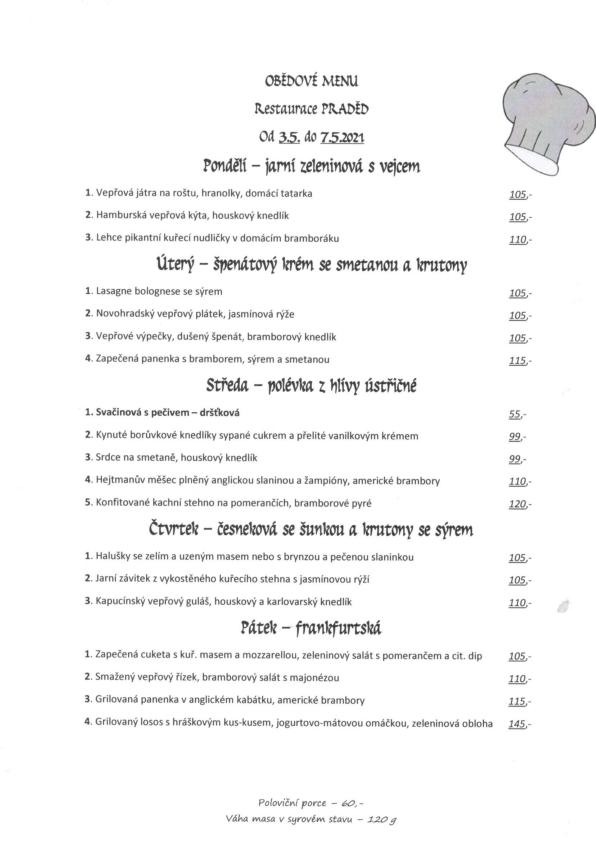 Restaurace Praděd denní menu